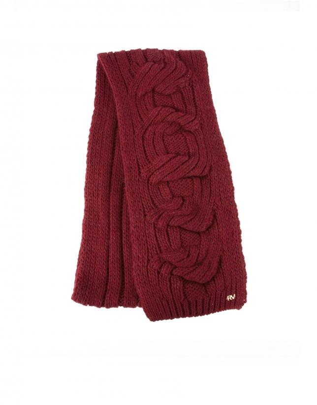 Echarpe tricot bordeaux