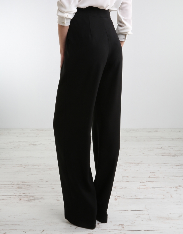 Pantalon ample noir pantalons femme roberto verino - Pantalon ample femme ...