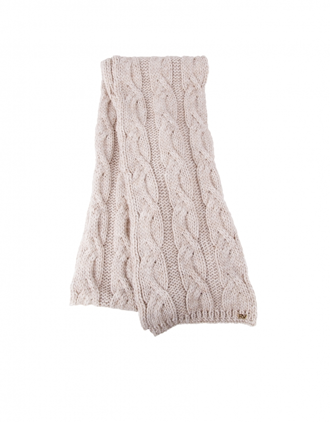 Echarpe tricot beige