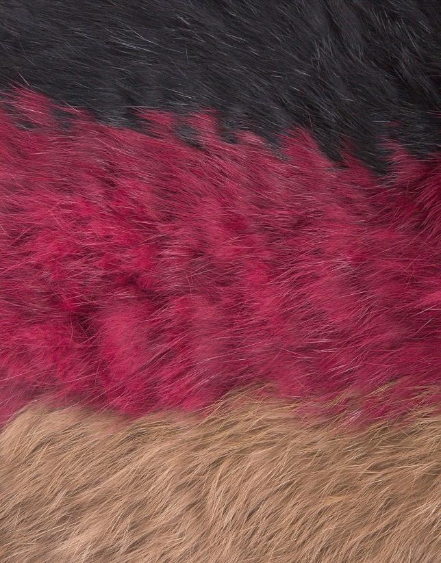 Tour de cou tubulaire tricolore poil de lapin