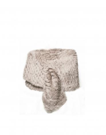 Chauffe-épaules beige en peau de lapin