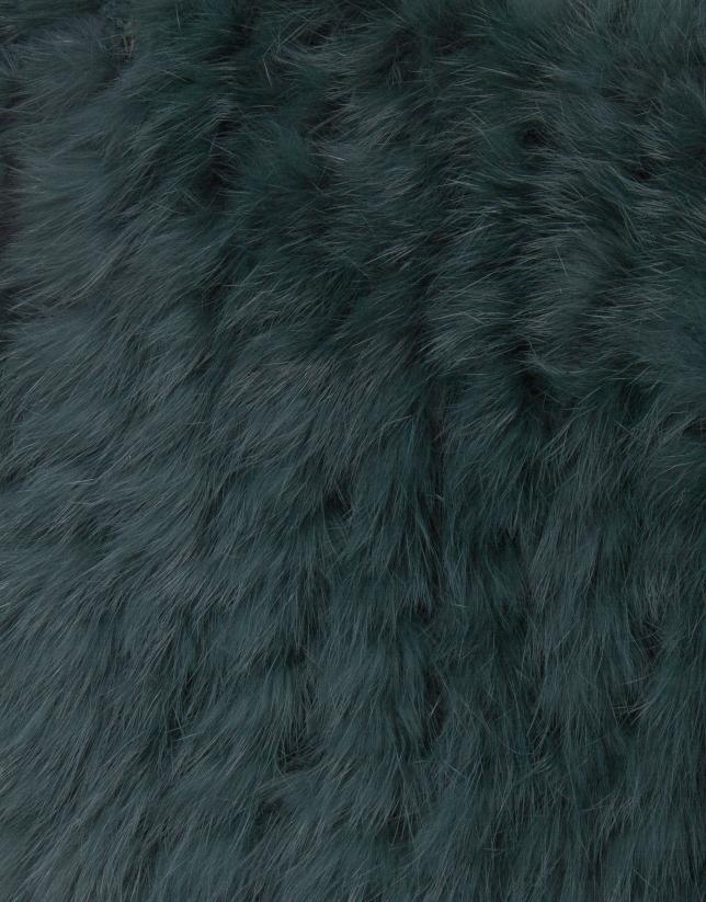 Chauffe-épaules vert en peau de lapin