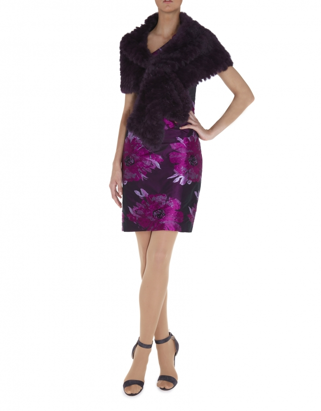 Burgundy rabbit fur shrug