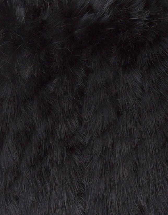 Black rabbit fur shrug