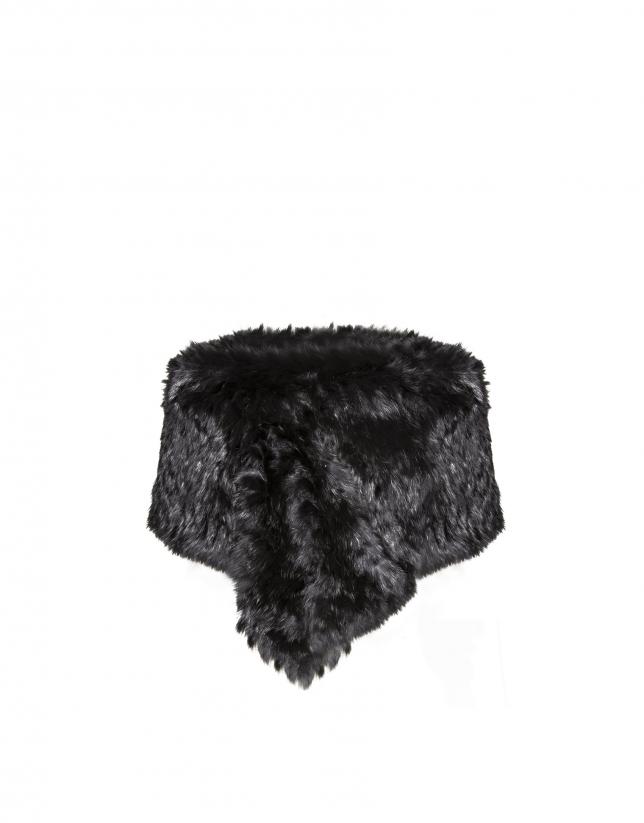 Chauffe-épaules noir en peau de lapin