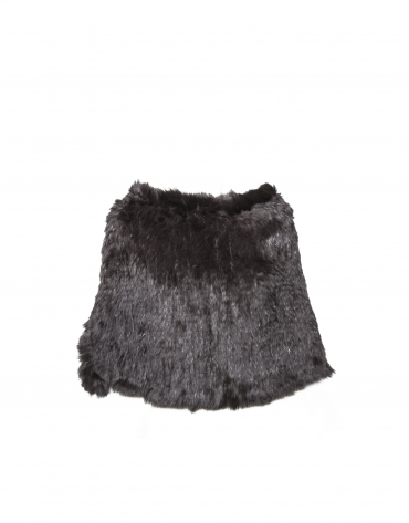 Short black rabbit fur closed cape