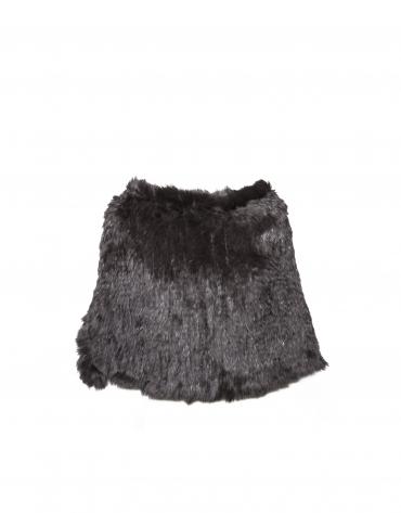 Short brown rabbit fur closed cape