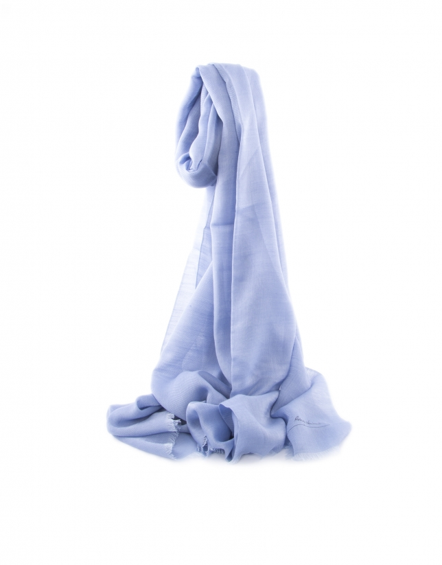 Plain medium blue scarf