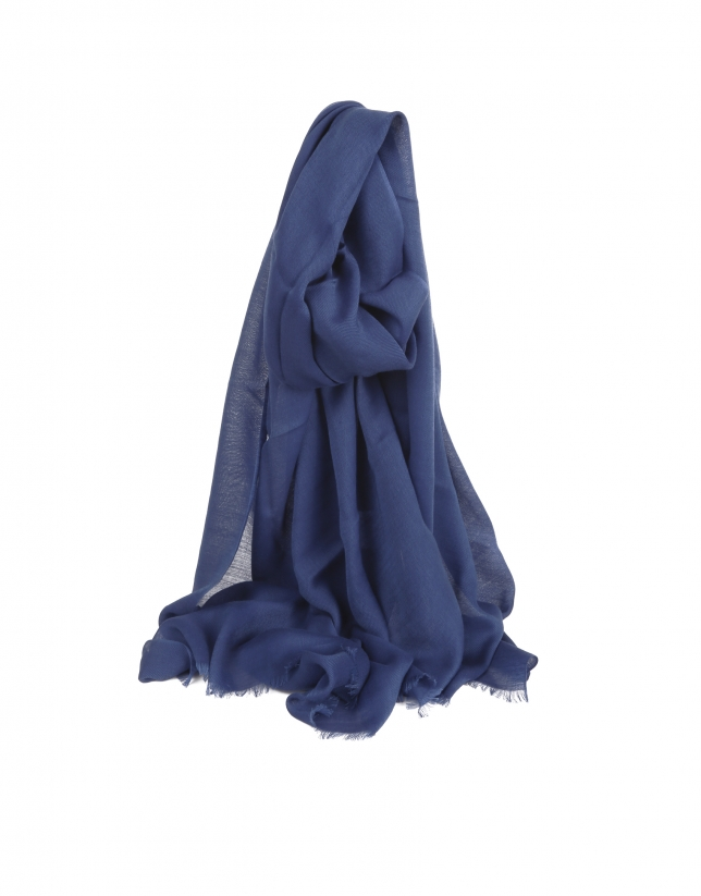 Plain navy blue scarf