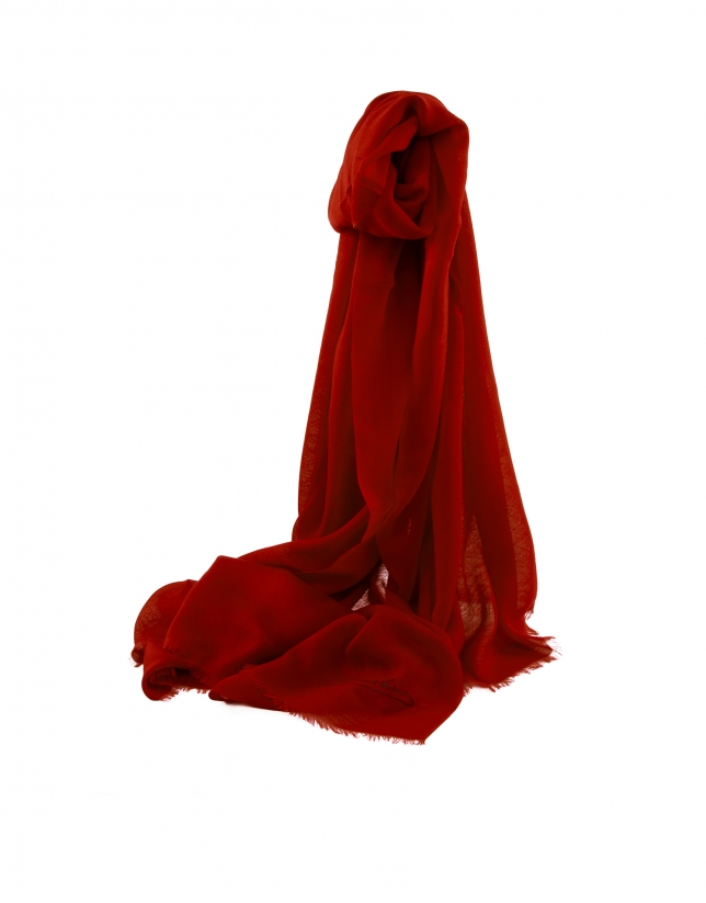 Plain wine red scarf