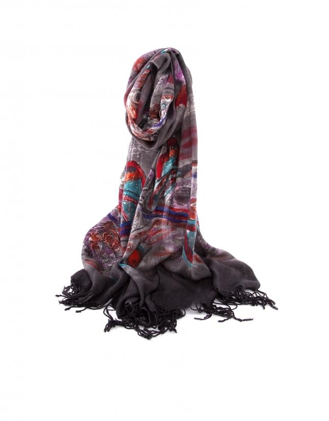 Purple print scarf