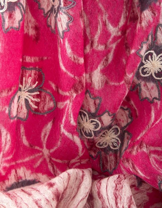 Foulard bordado rosa