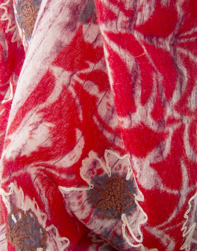 Foulard bordado rojo