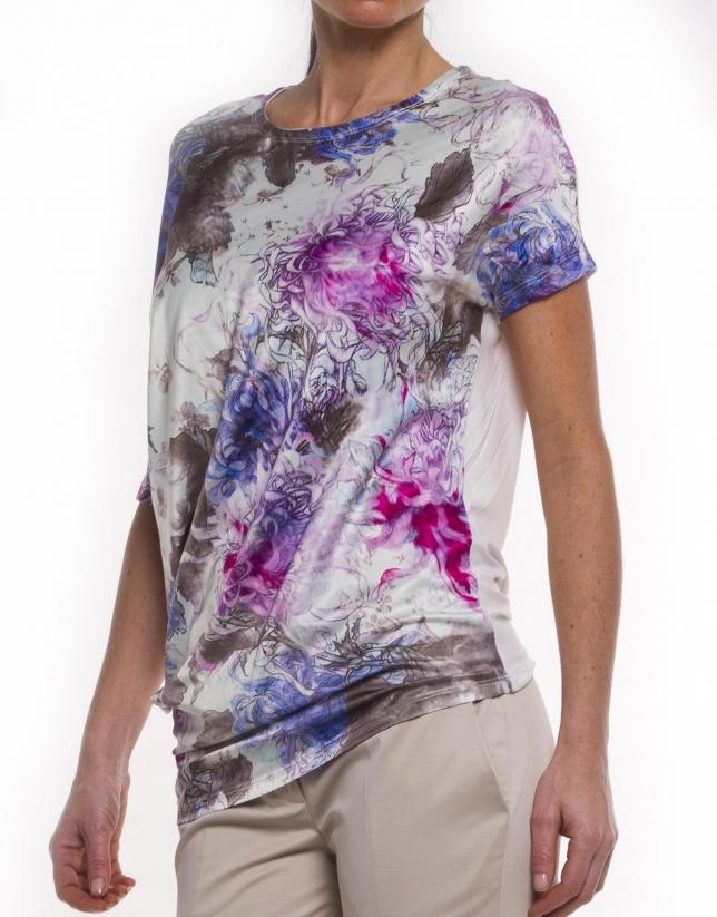 Tee-shirt long manches mi-longues bas asymétrique
