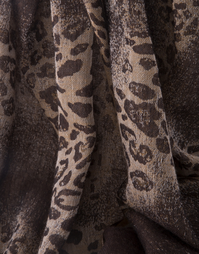 Foulard print animal marrón