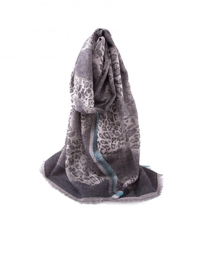 Gray animal print scarf