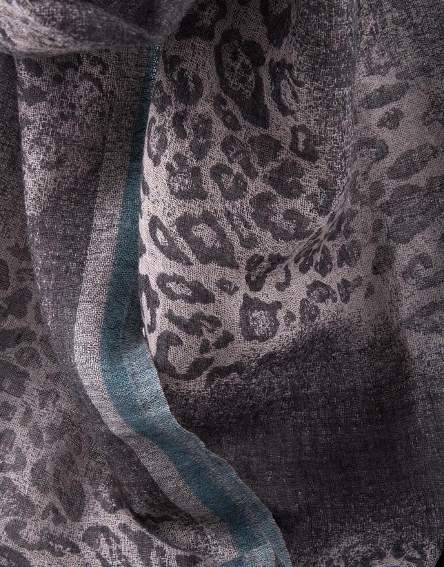 Foulard print animal gris