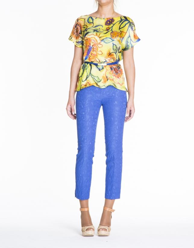 Blusón seda estampado floral tonos amarillos