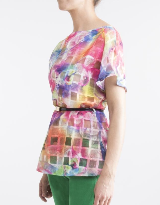 Pink print loose blouse