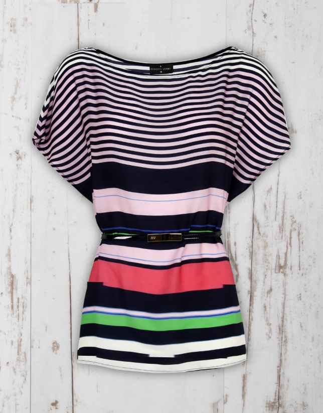 Pink striped loose blouse