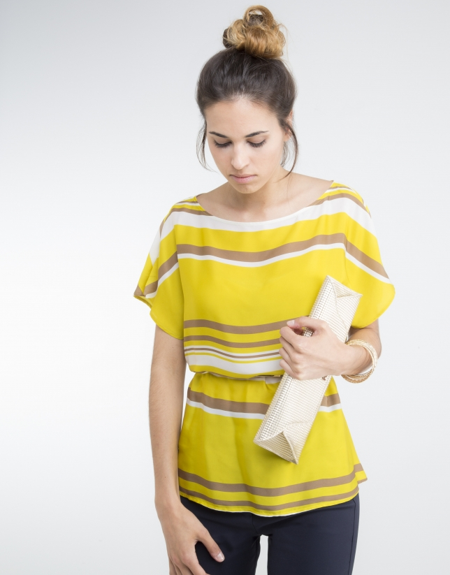 Yellow striped loose blouse
