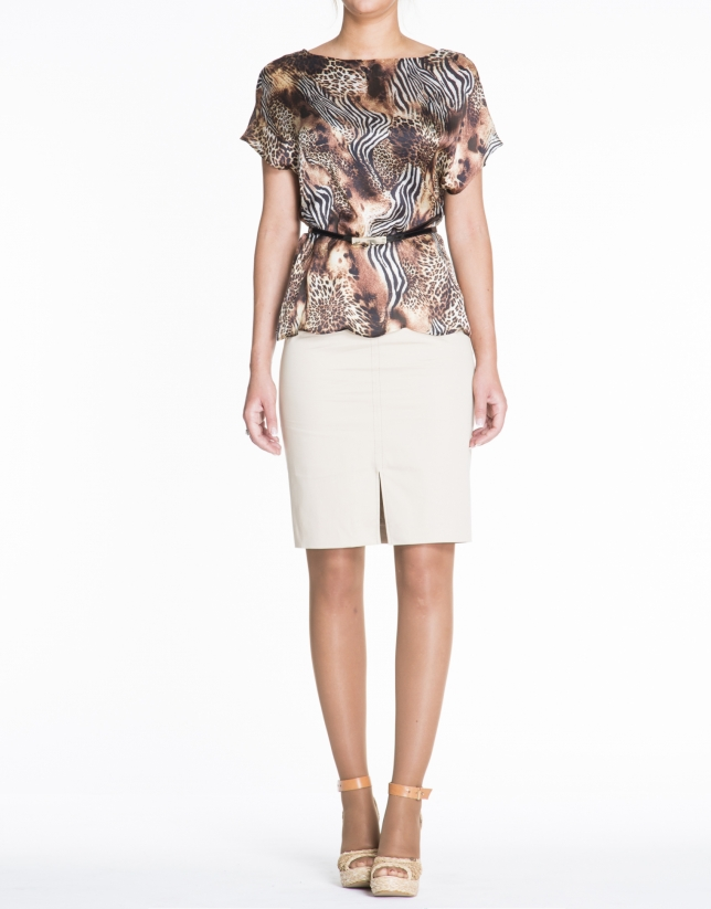 Loose animal print silk blouse.