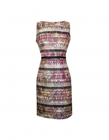 Sleeveless geometric pattern dress