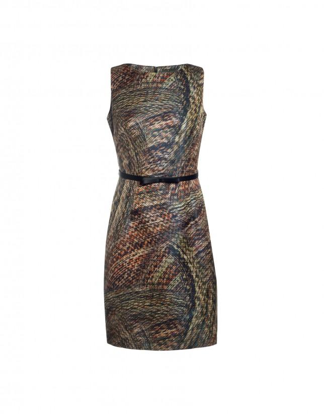 Sleeveless jacquard pattern dress