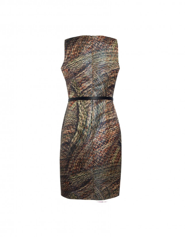 Sleeveless jacquard pattern dress
