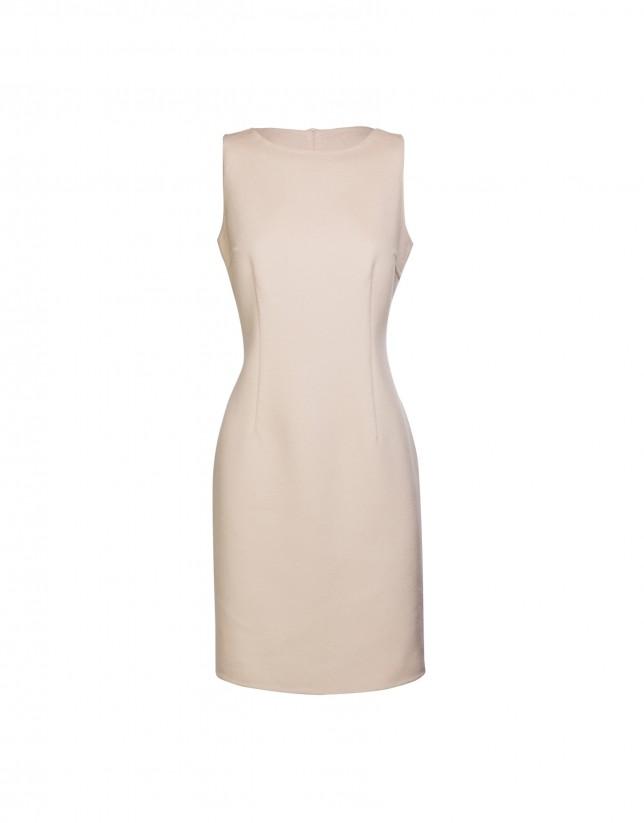 Cream sleeveless double-faced dress