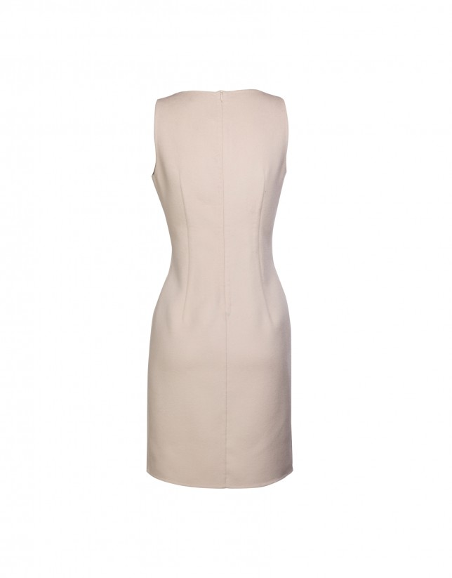 Cream sleeveless double-faced dress