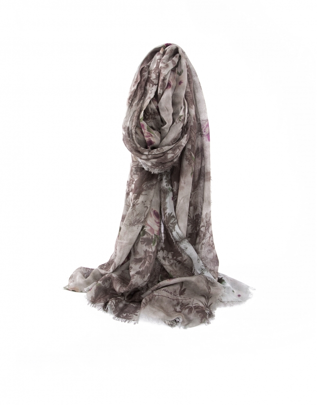 Purple jacquard scarf