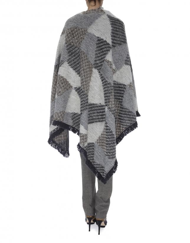 Gray knit, geometric print poncho