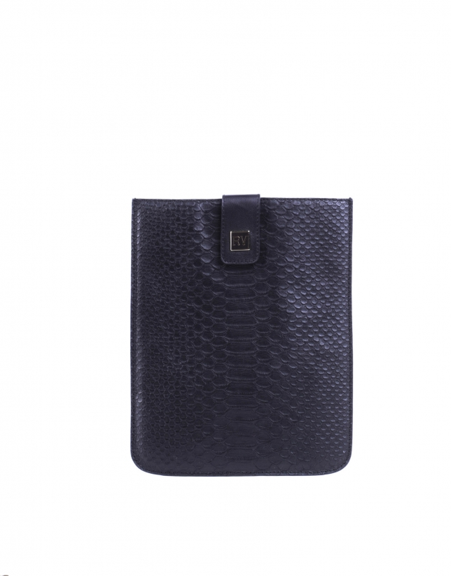 IPad case in embossed-crocodile leather