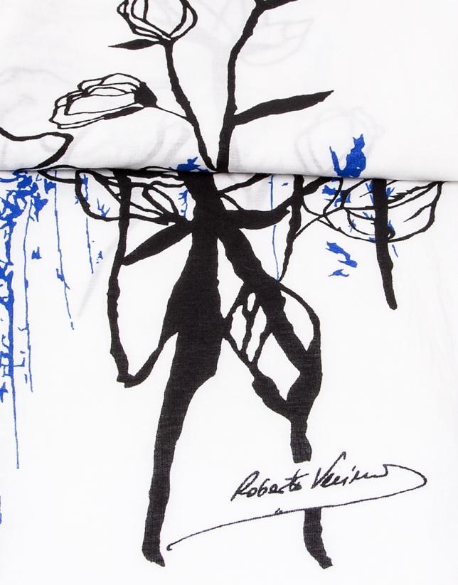 tole blanche, noire et bleu à motif