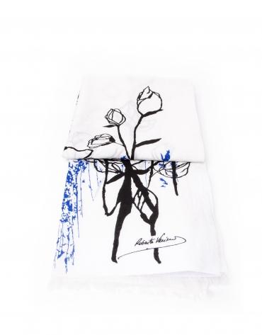 Foulard estampado blanco, negro y azul
