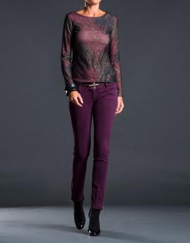 Aubergine and black print t-shirt