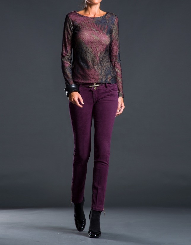 Tee-shirt à motifs aubergine noir