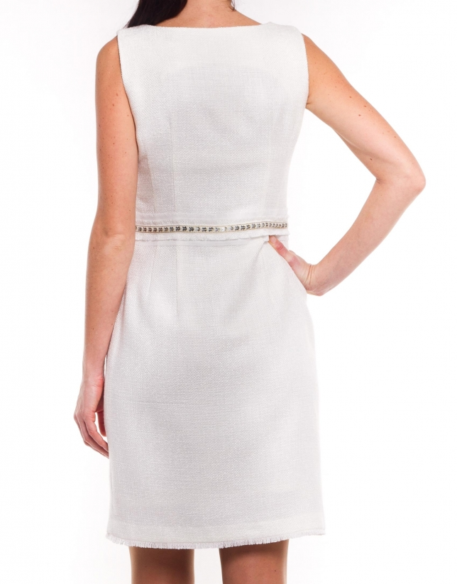 Dress with beading at waist
