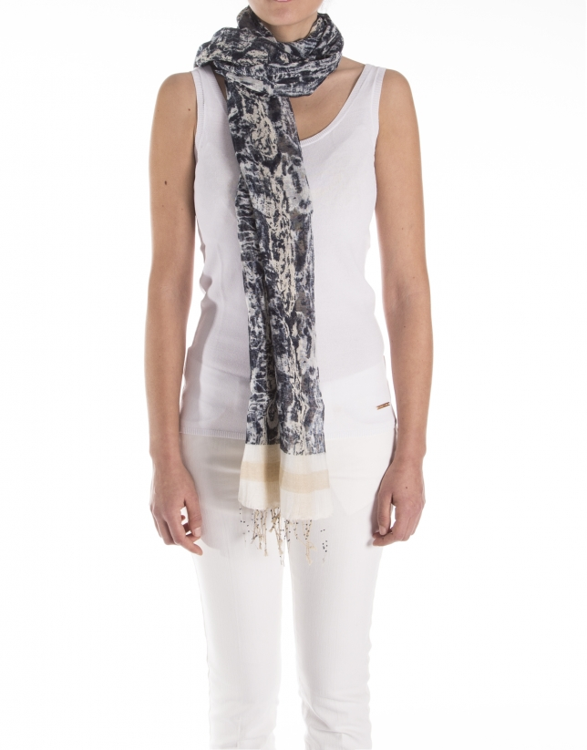 Beige and navy blue flower print scarf