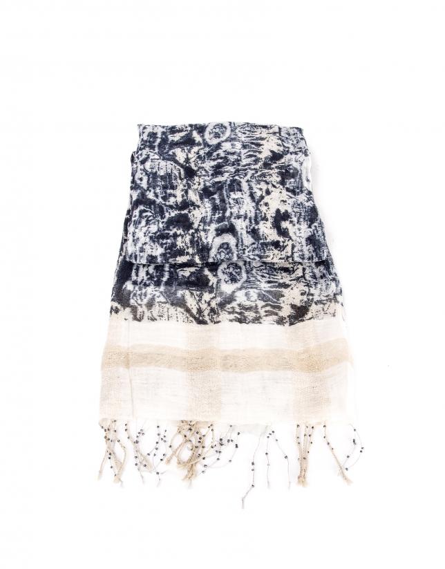 Beige and navy blue flower print scarf