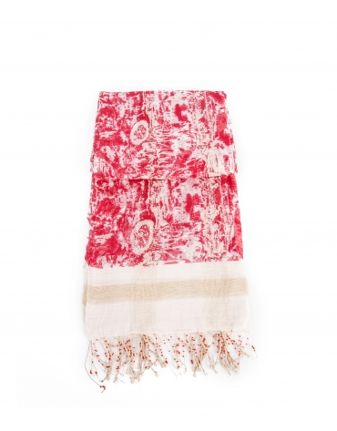 Beige and red flower print scarf