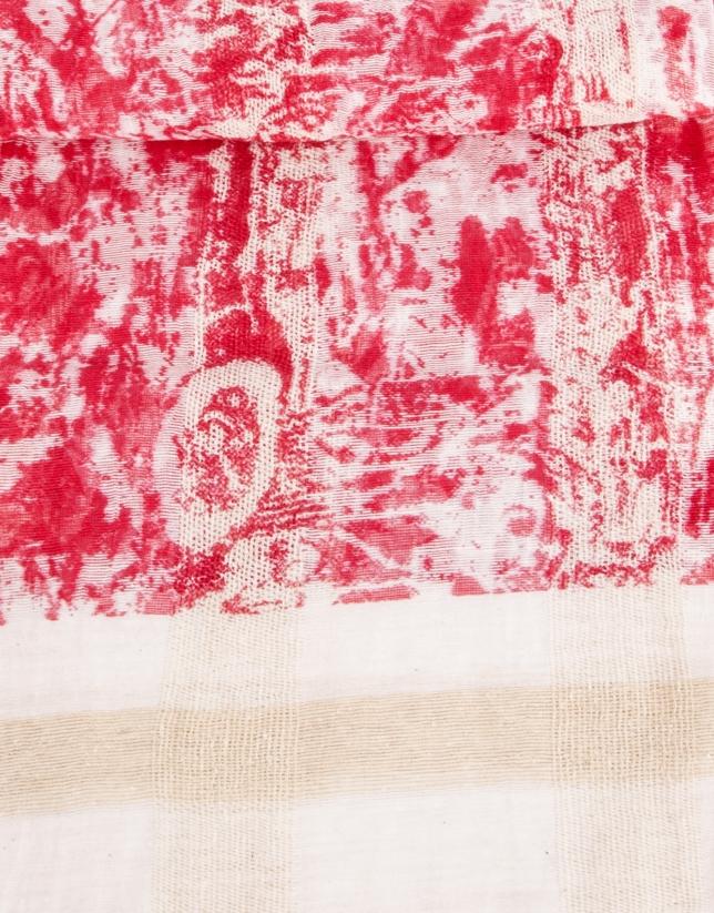 Foulard estampado flores crudo, beige y rojo