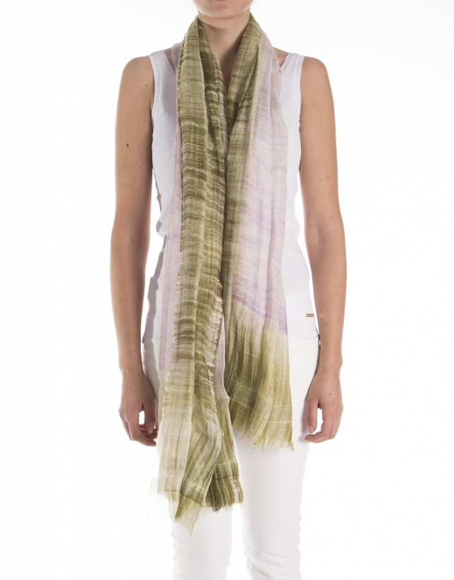 Mauve and khaki print scarf