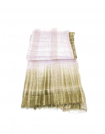 Mauve and khaki print scarf