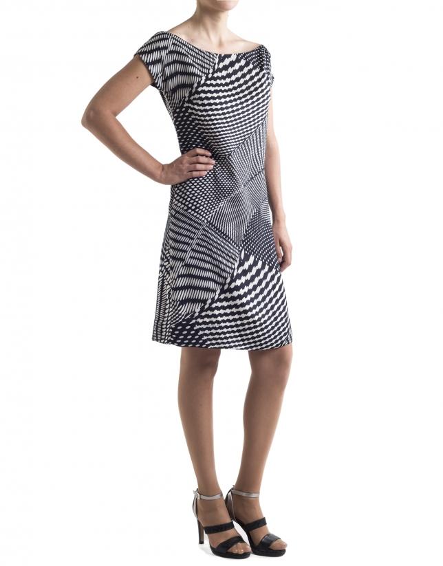 Geometric print sheath dress