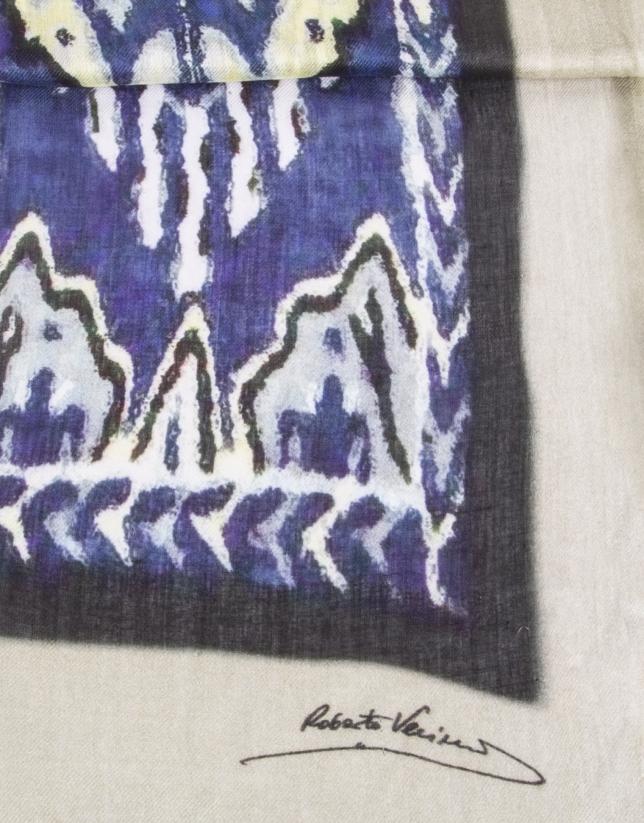 Blue ethnic print scarf