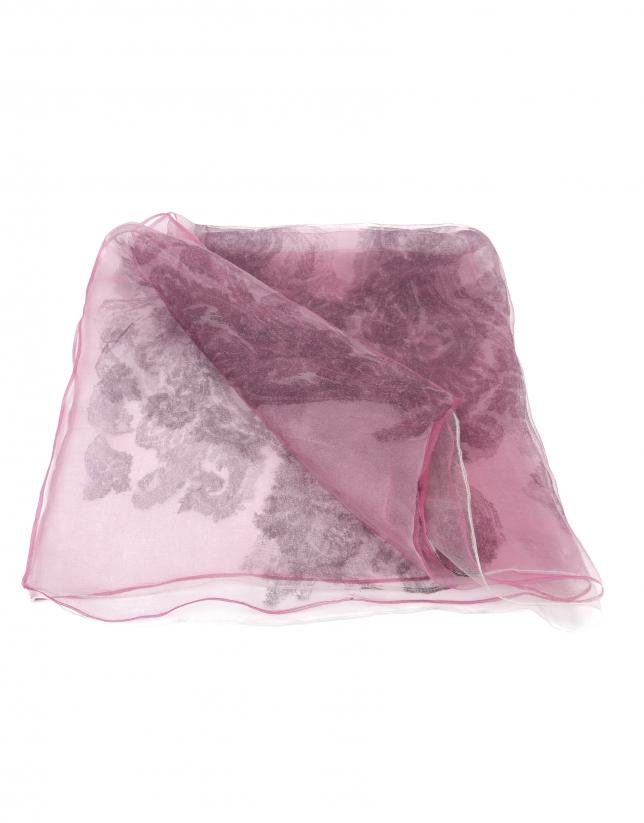 tole en soie fuchsia à motif