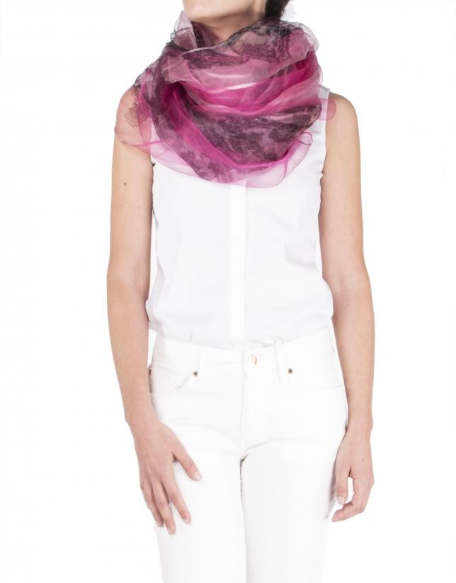 Fuchsia print silk scarf