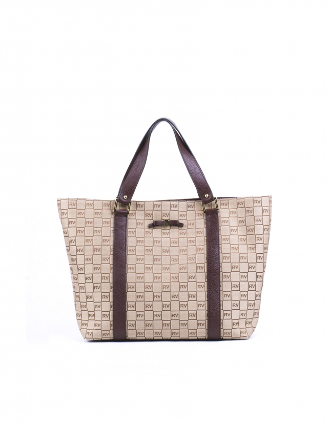 MONICA TAN: Shopping RV jacquard and tan leather